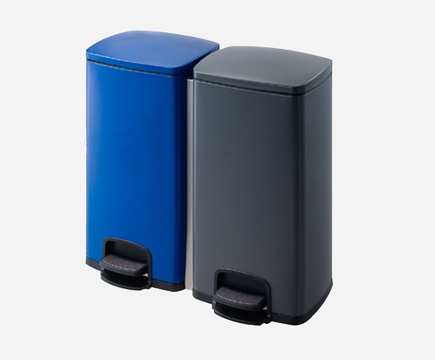 MAX-F108-A Stainless Steel Powder Coated Blue/gray Double Stainless Steel Pedal Bin for Office