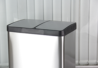 MAX-SN354A 2 Comparment 60l Stainless Steel Foot Pedal Waste Bin for Office Dustbin