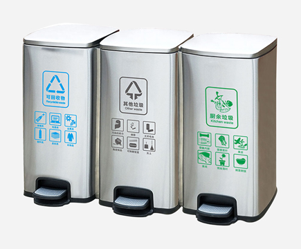 MAX-218H-A Indoor 3 Compartment Hotel Pedal Bin for Hospital