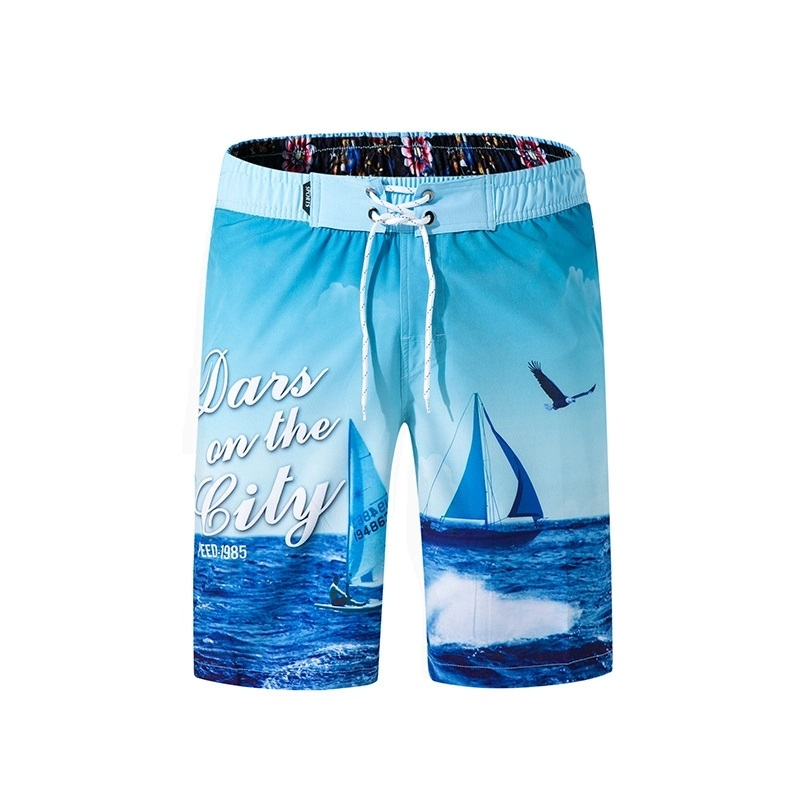 Style custom brand 100% cotton drawstring short colorful printed short beach short pants boxer short