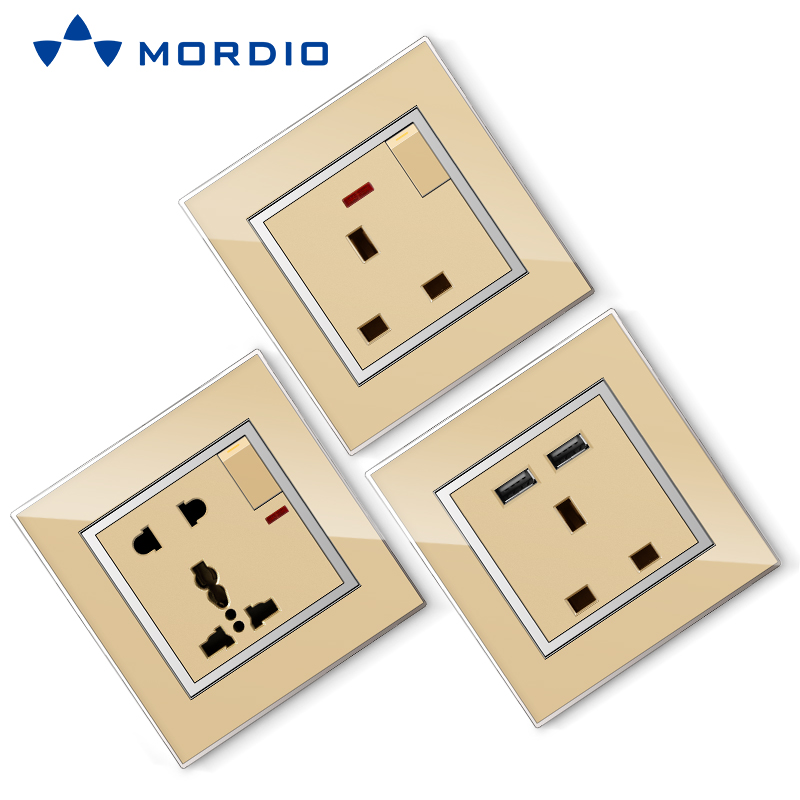 K8 Stainless/ Acrylic/ PC /Glass Silver and Golden Euro BS Standard Wall Electric 2P+E Socket Outlet and Square/Circle Switch 250V