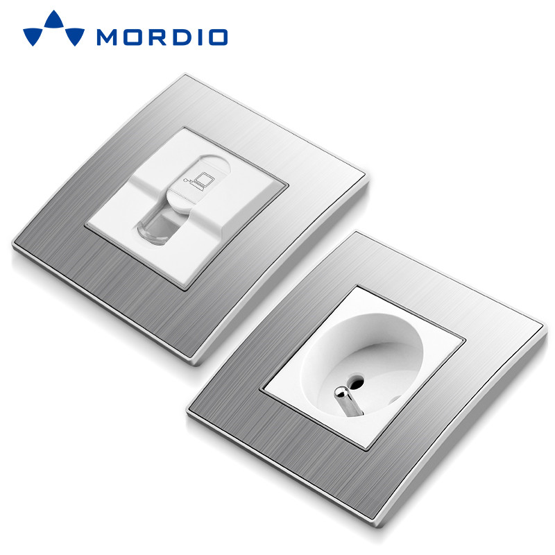 K310 Stainless/ Acrylic/ PC /Glass Silver and Golden Euro BS Standard Wall Electric 2P+E Socket Outlet and Square/Circle Switch 250V