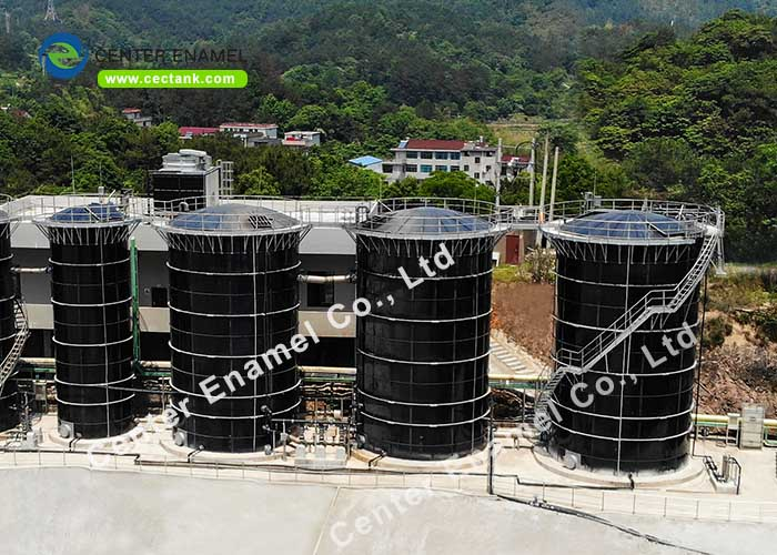 Double Membrane Roof Glass Fused Steel Tanks For Liquid Storage