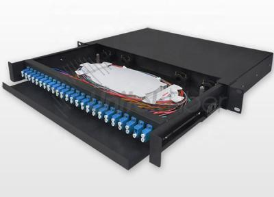 1U 19 inch Rack Mount Sliding Fiber Optic Patch Panel with Splice Tray, LC Pigtail and adapter