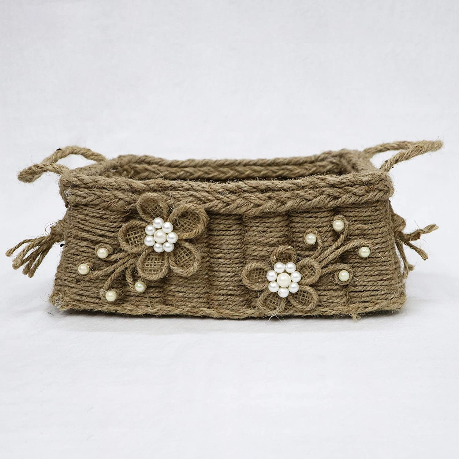 Jute Cardboard rectangle basket