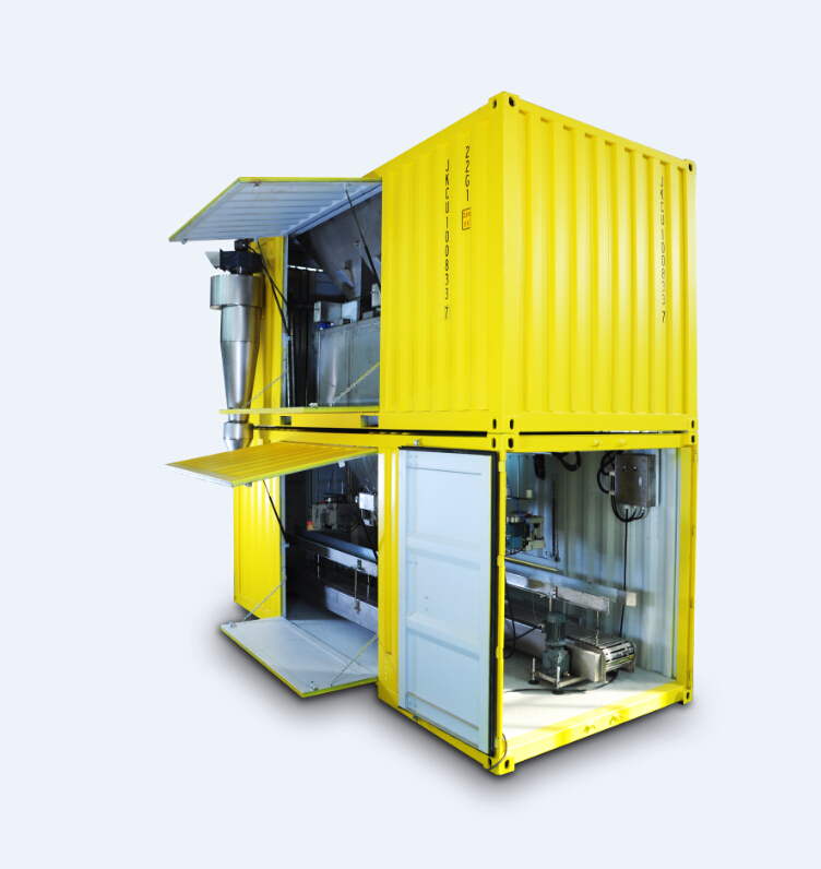 MOBILE FERTILIZER UREA BAGGING MACHINES containerized bagging system Mobile Bagging Unit MOBILE BAGGING MACHINES for Grains, pulses, iodised salts, sugar Containerised bagging system