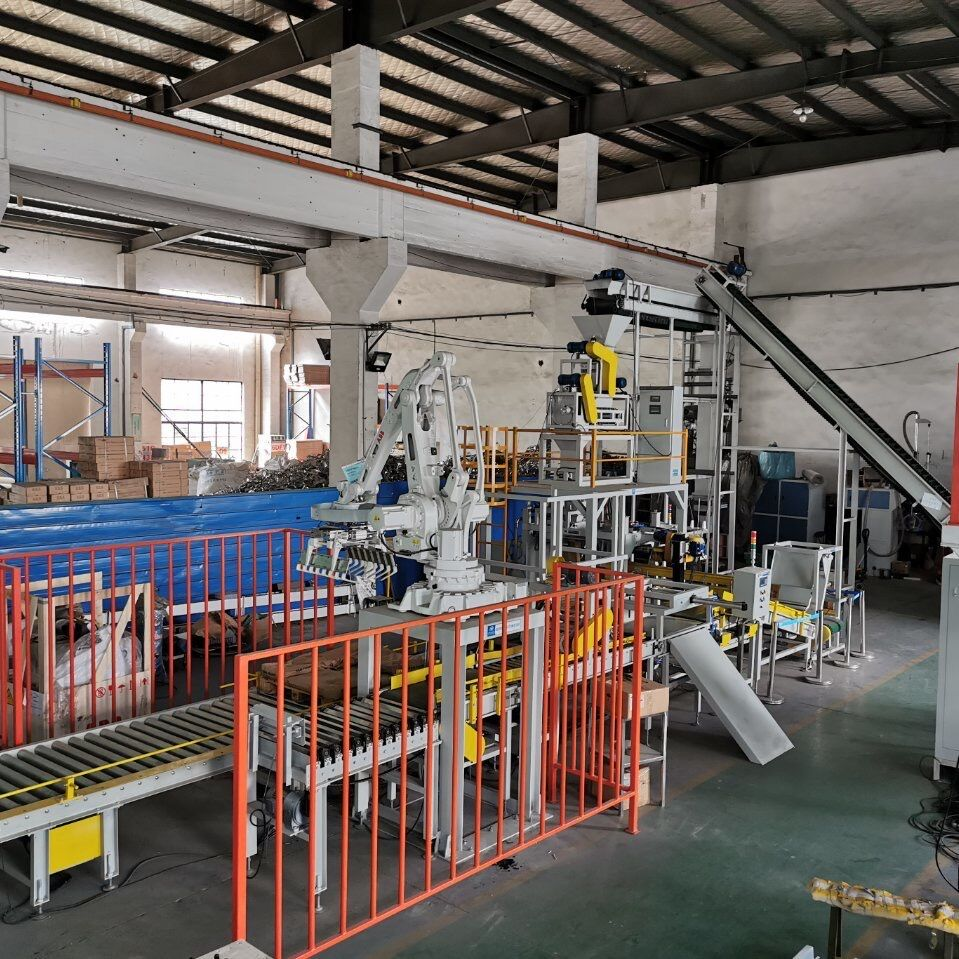 fully automatic bulk fertilizers packaging line full automatic fertilizers bagging palletizing and wrapping system