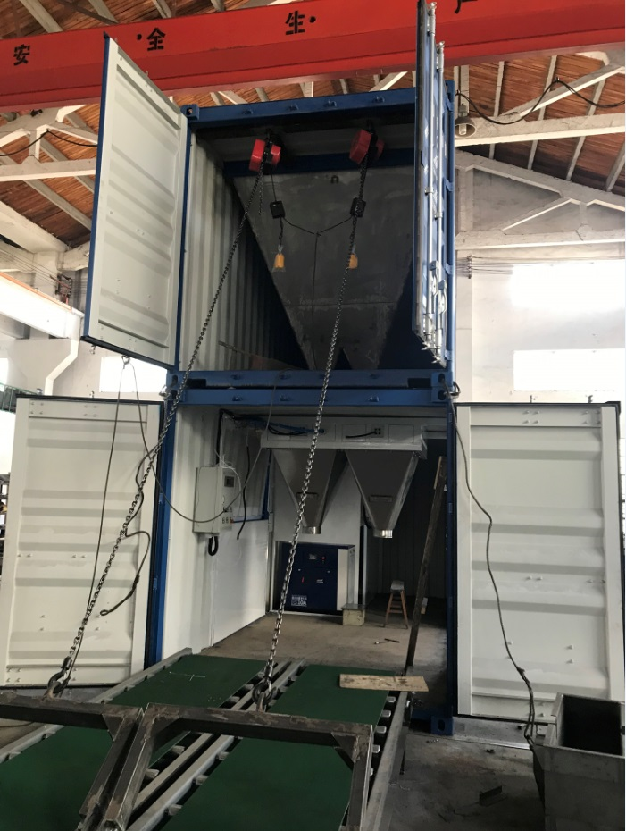 Container Bagging line portable bagging line fully automatic bulk fertilizers packaging line full automatic fertilizers bagging palletizing and wrapping system