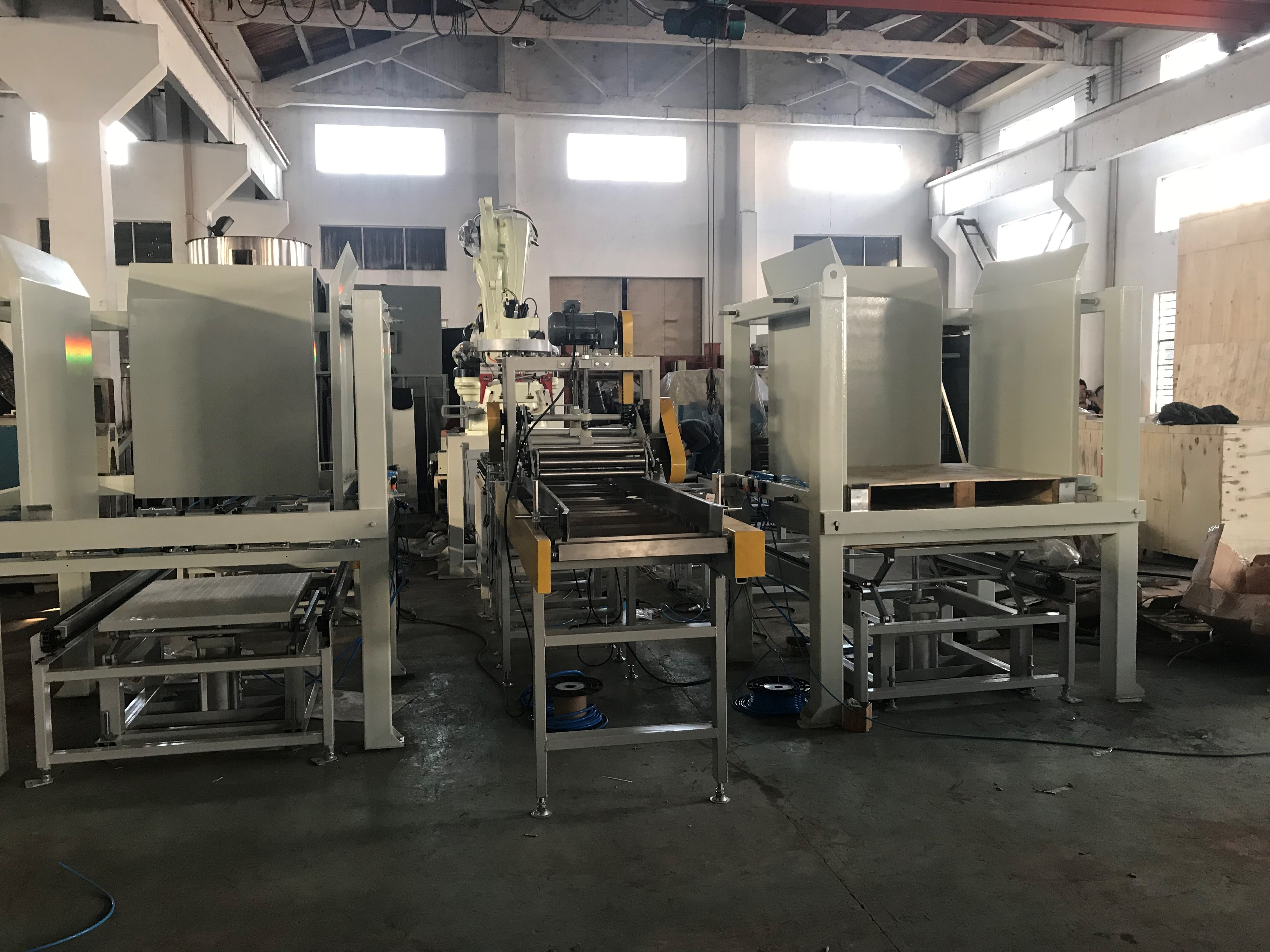 25 kg bagger full automatic bagging palletizing and wrapping system