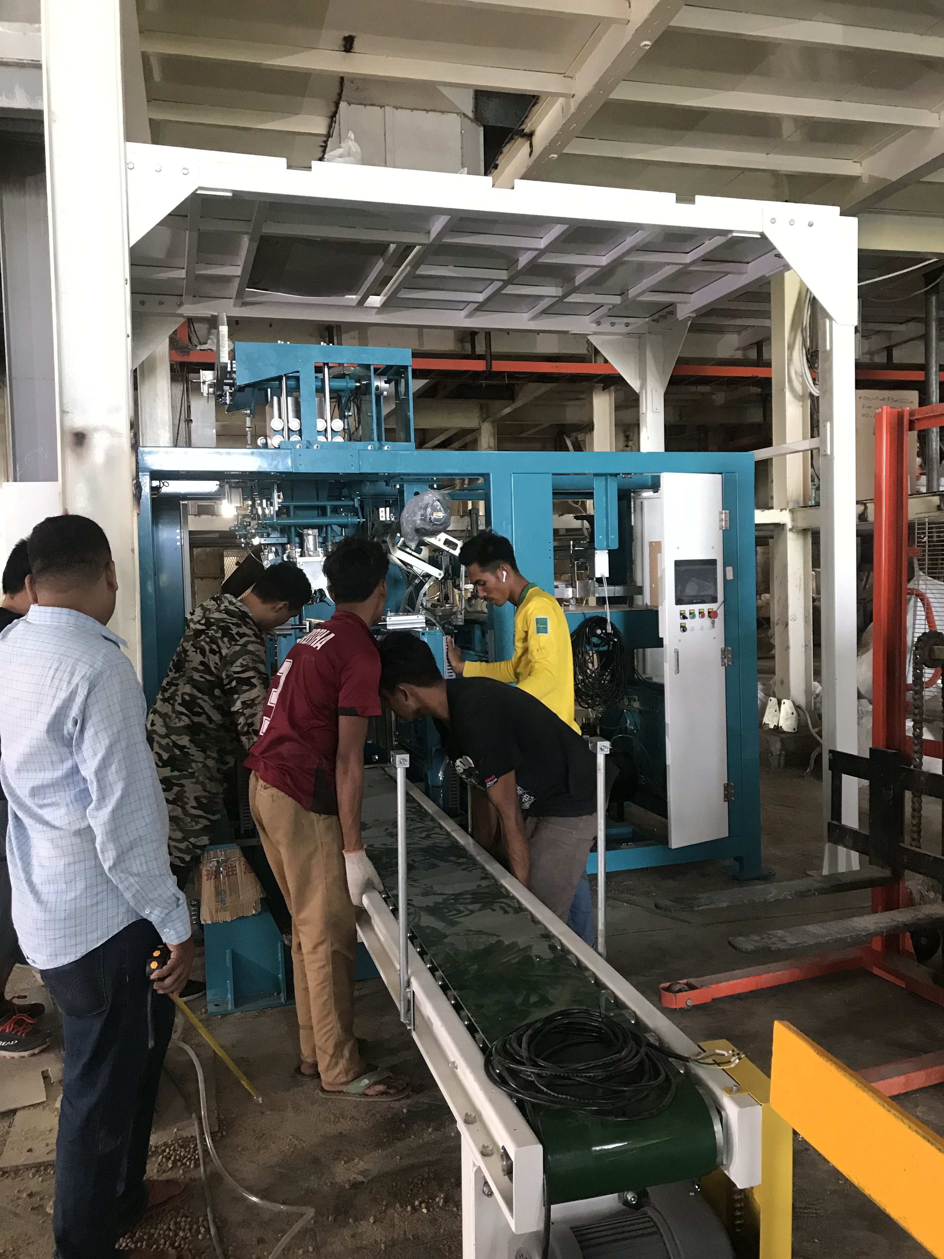 automatic packing machine for organic fertilizer 10-20kg bag Packing lines full automatic packaging line robotics palletizer system full automatic bagging palletizing and wrapping system