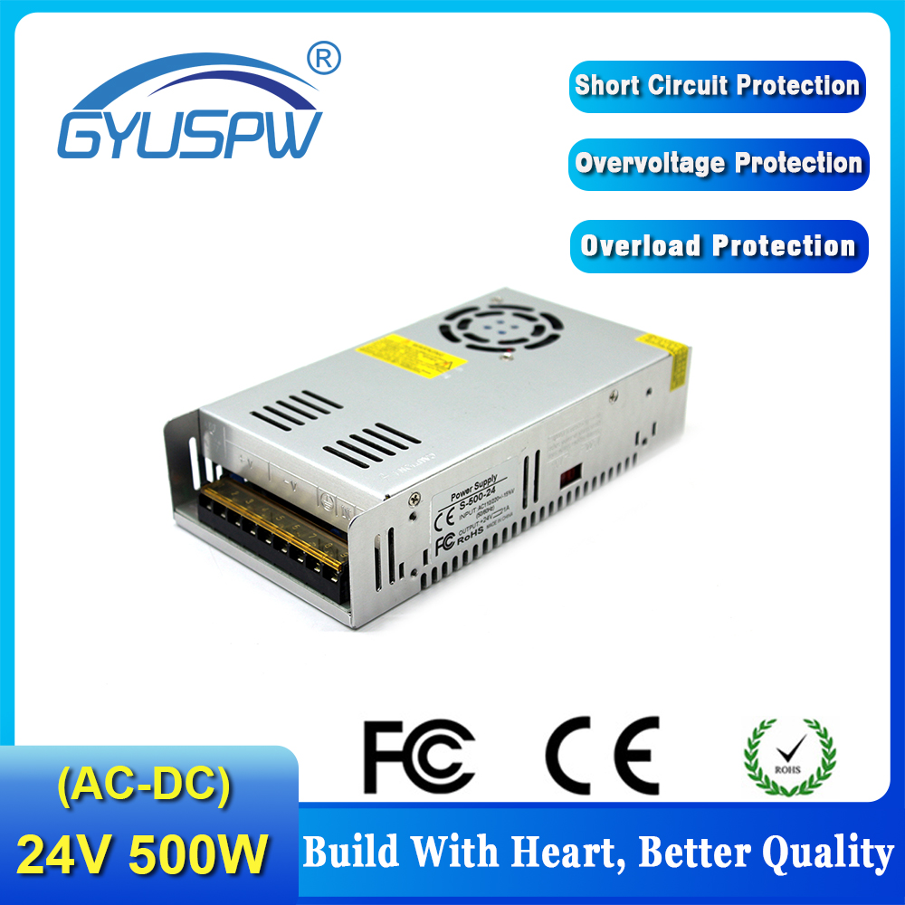 Single Output switching power supply 24V 20.8A 500W Transformers 110V 220V AC TO DC SMPS for LED Strip Lamp Light