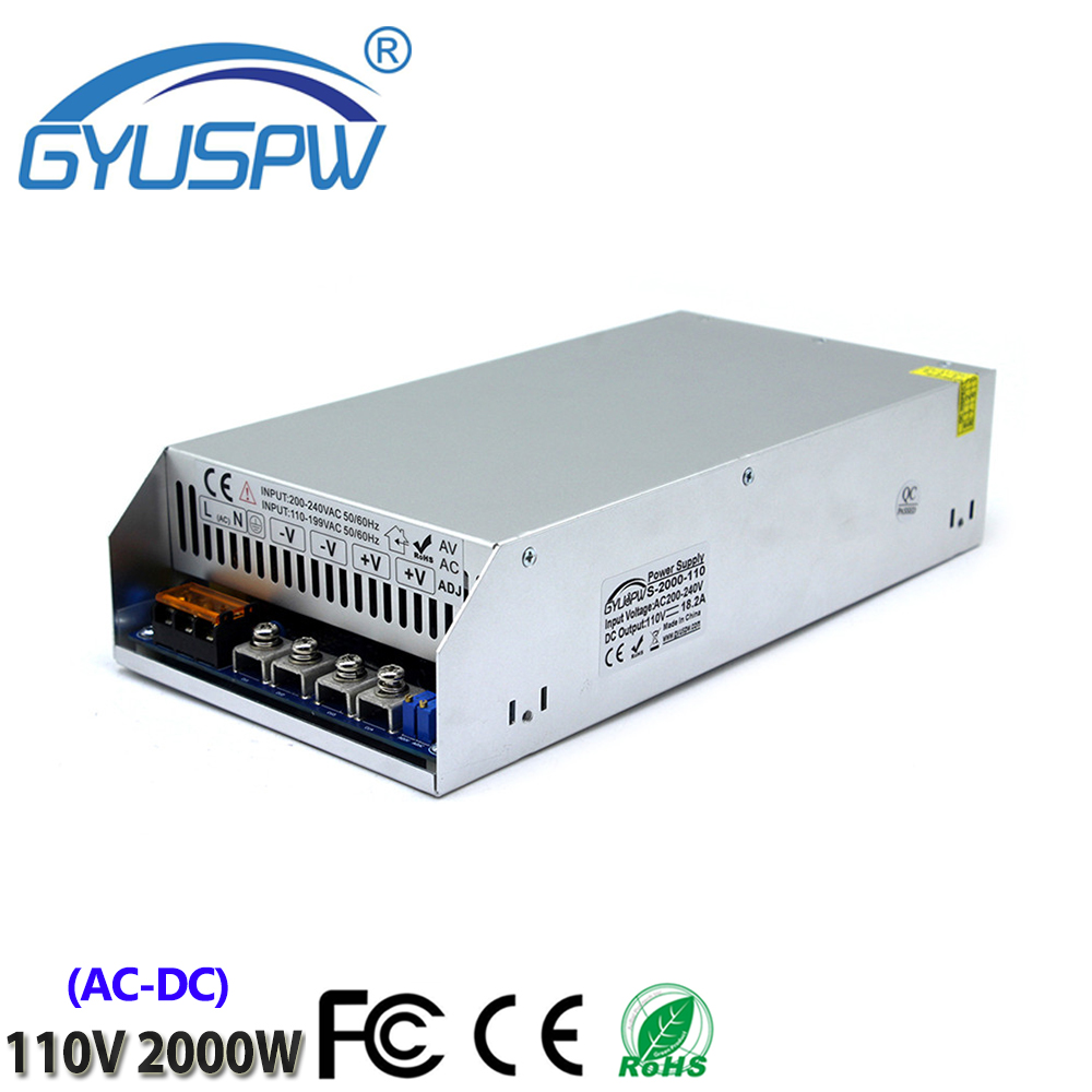 High quality Switching Power Supply AC110/220V To DC110V 18.1A 2000W For LED lighting 3D Printer Security System Stepper motor