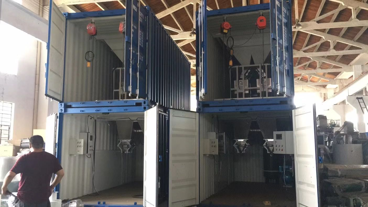 Containerised bagging machine for sulphate fertilizers Containerised bagging system Mobile Bagging Unit Wuxi HY Machinery Co., Ltd.