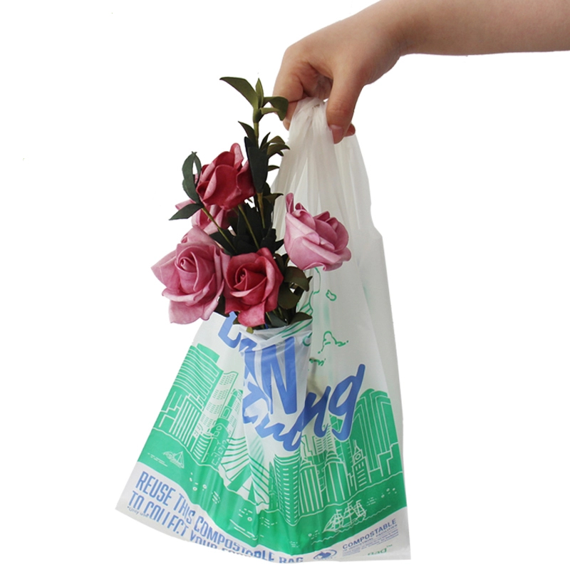 EN13432 biodegradable compostable Carry Bags W Style  eco handle shopping bag