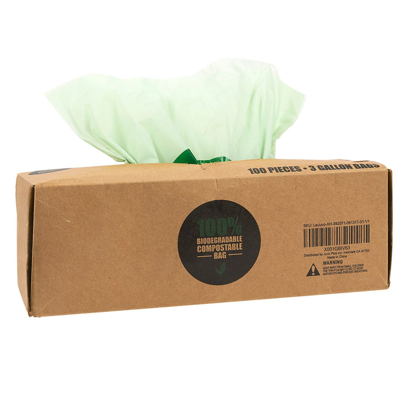 Eco-friendly biodegradable custom printed PLA plastic trash bags