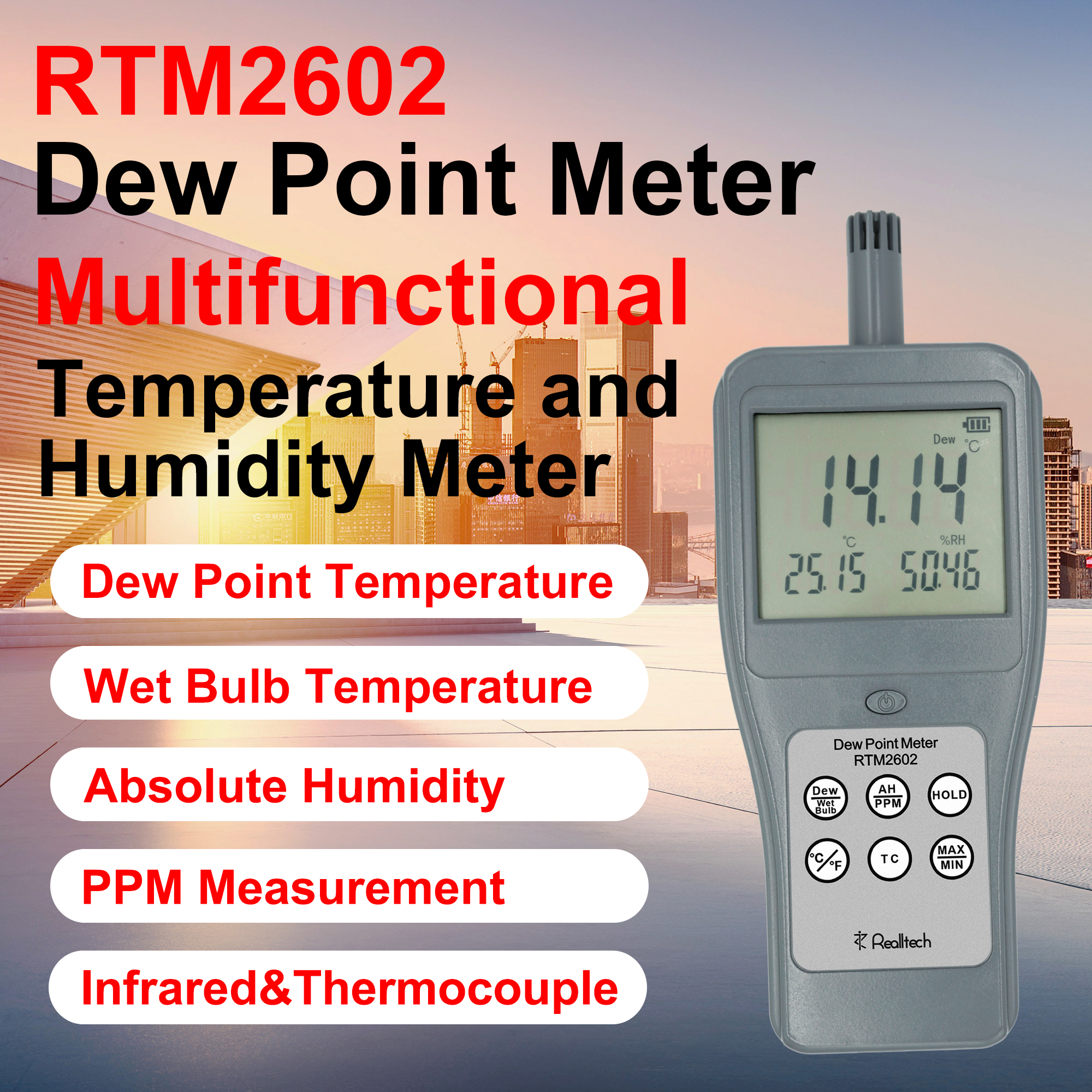 RTM2602 High Accuracy of Professional Digital Dew Point Meter with Infrared and Thermocouple measuring