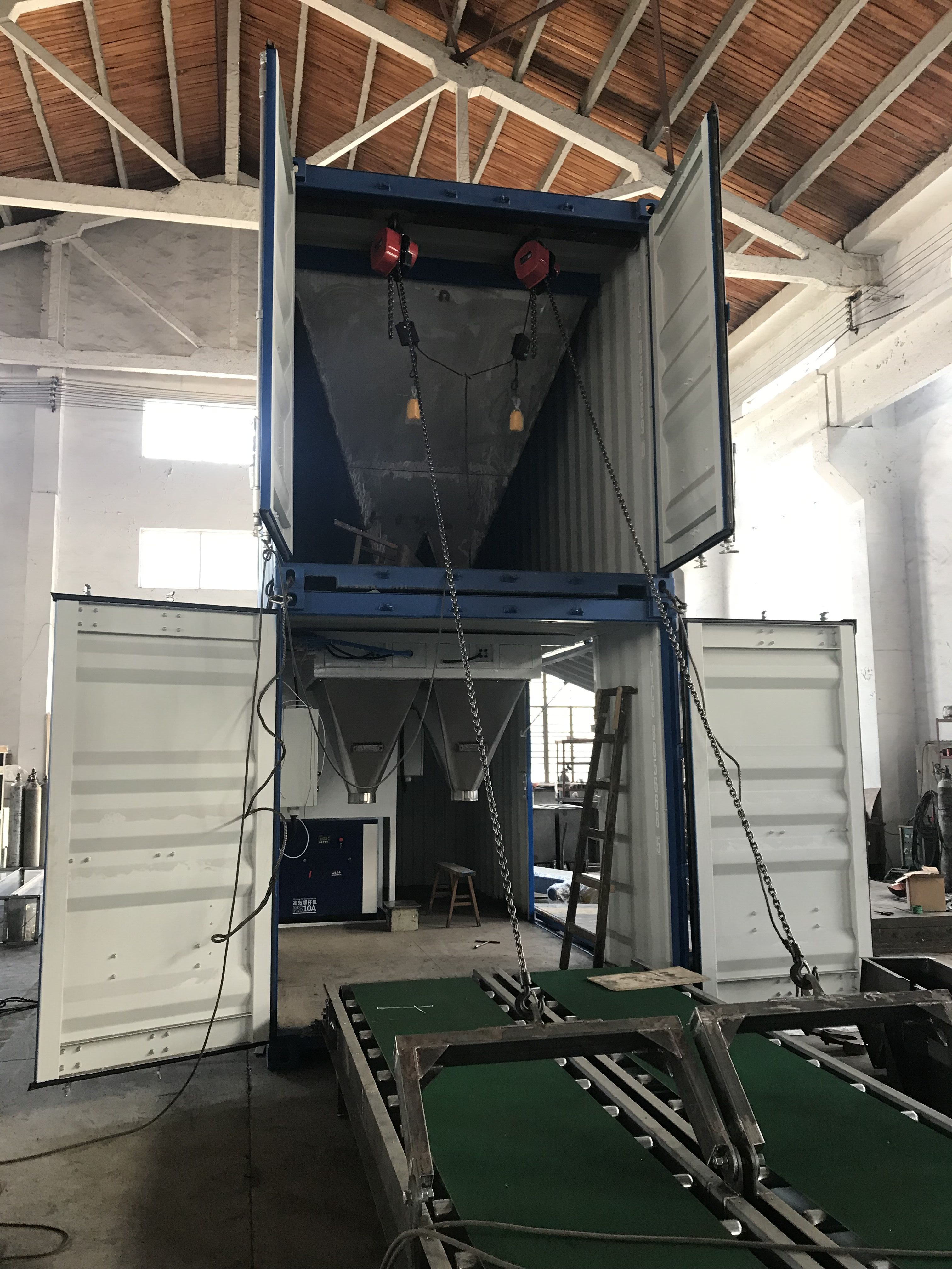 Containerised Bagging System, Movable Bagging unit, Mobile Bagging Unit, Mobile Containserized Bagging Unit, Fully Automatic Packing System, Wuxi HY Machinery Co., Ltd