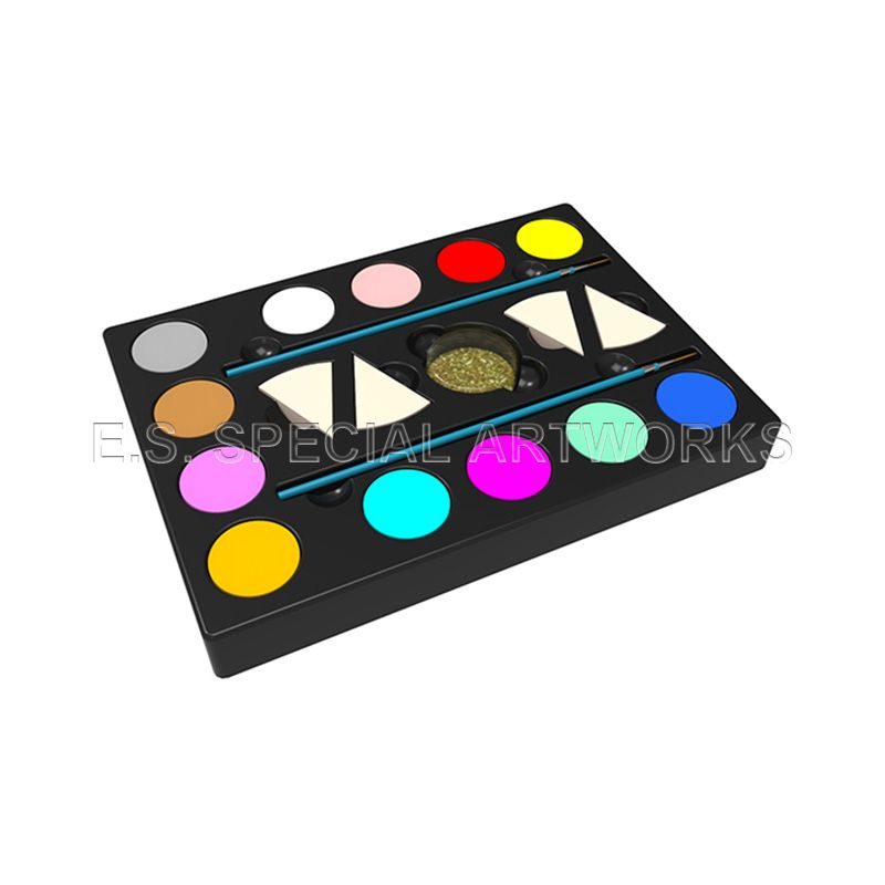 ES-PO-011 12 Customized Color and 2 Brushes 4 Sponges 1 Glitter