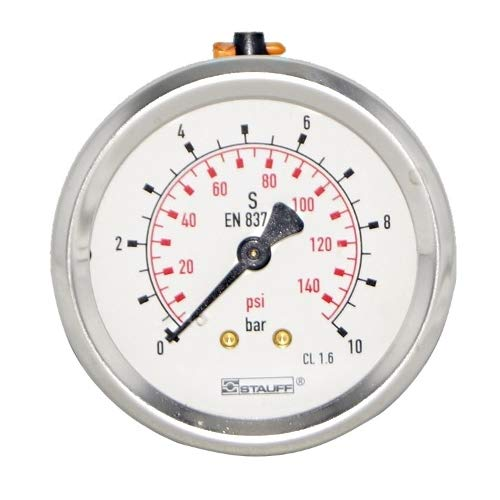 Lead Free Pressure Gauge, 1/4 MNPT, Gauge Connection Location: Center Back