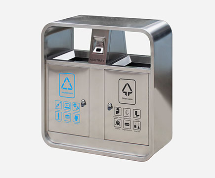 MAX-HB220 Outdoor Stainless Steel Rubbish Bin With Ashtray For Street