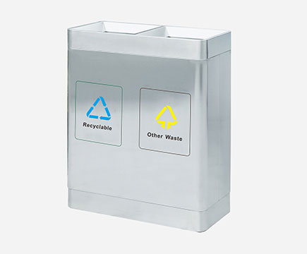 MAX-HB41 Wholesale Stainless Steel 2 Compartment Recycle Bin With Silk-screen For Airport