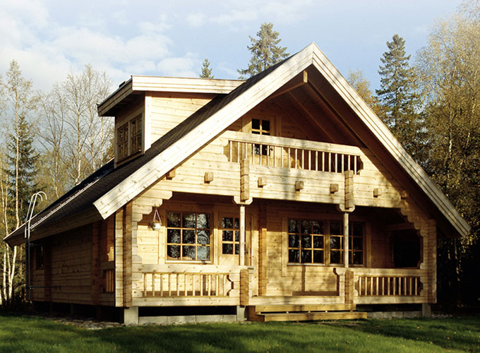 two floor wooden house log home timber house