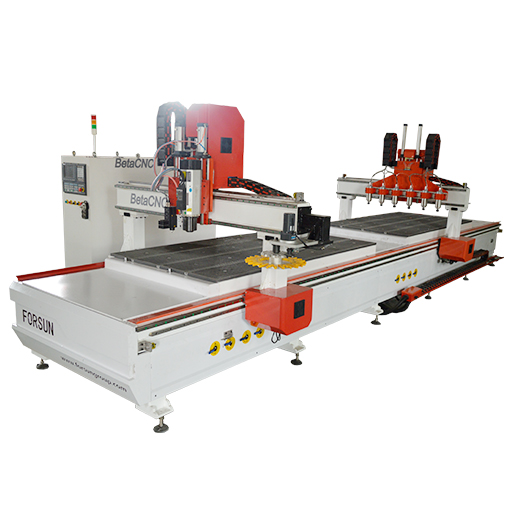 Custom Double Working Table CNC Router with Oscillating Knife + Multi-spindle