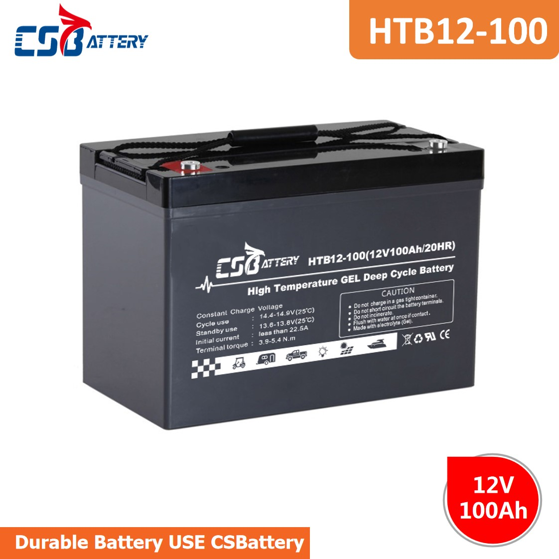 CSBattery 12V 100Ah rechargeable GEL Battery for solar/wind-system/Electric-Power/Lighting/Motors/vs:Sacred Sun