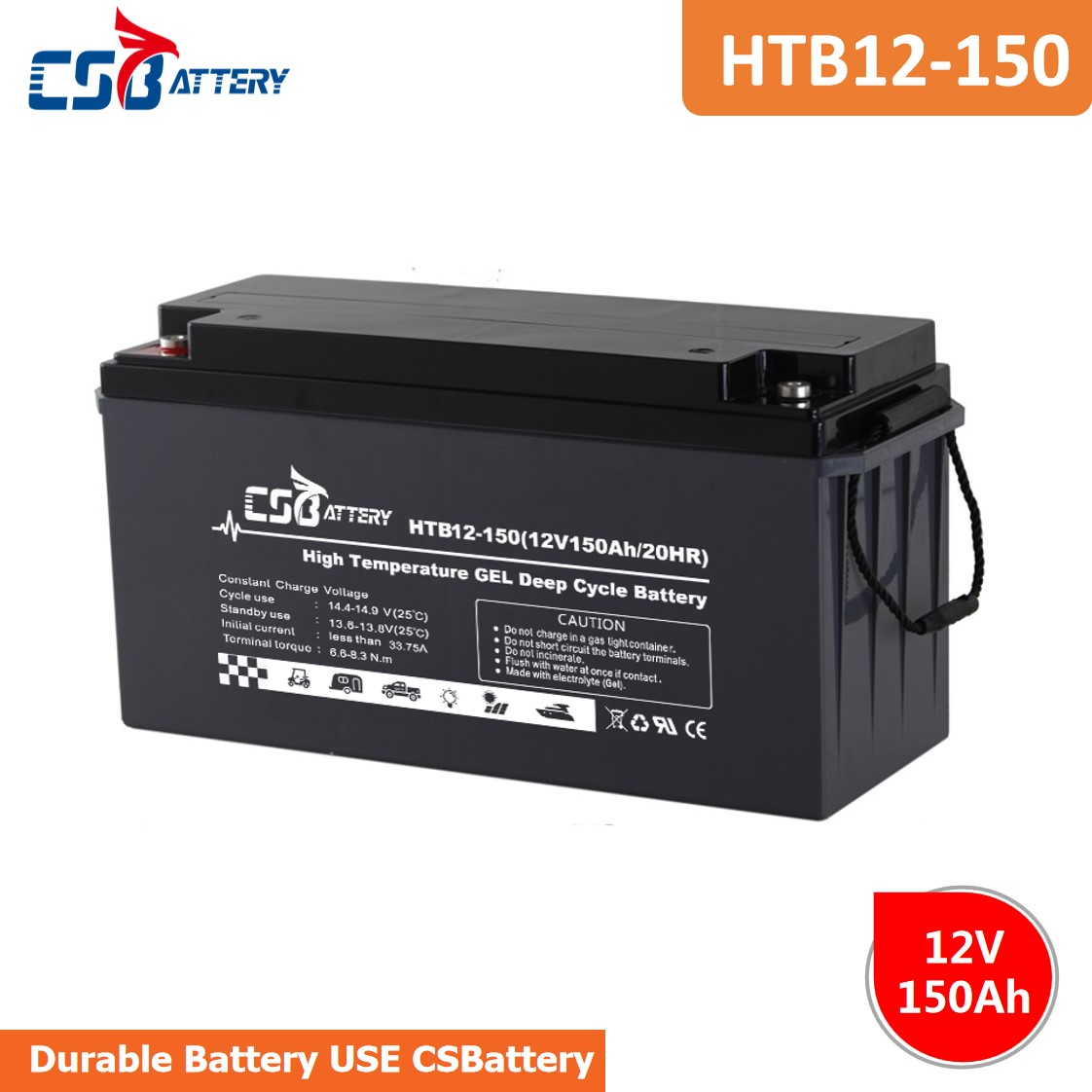 CSBattery 12V 150Ah strong starting performance GEL Battery for Electric-power/Emergency-systems/Booster-Pumps