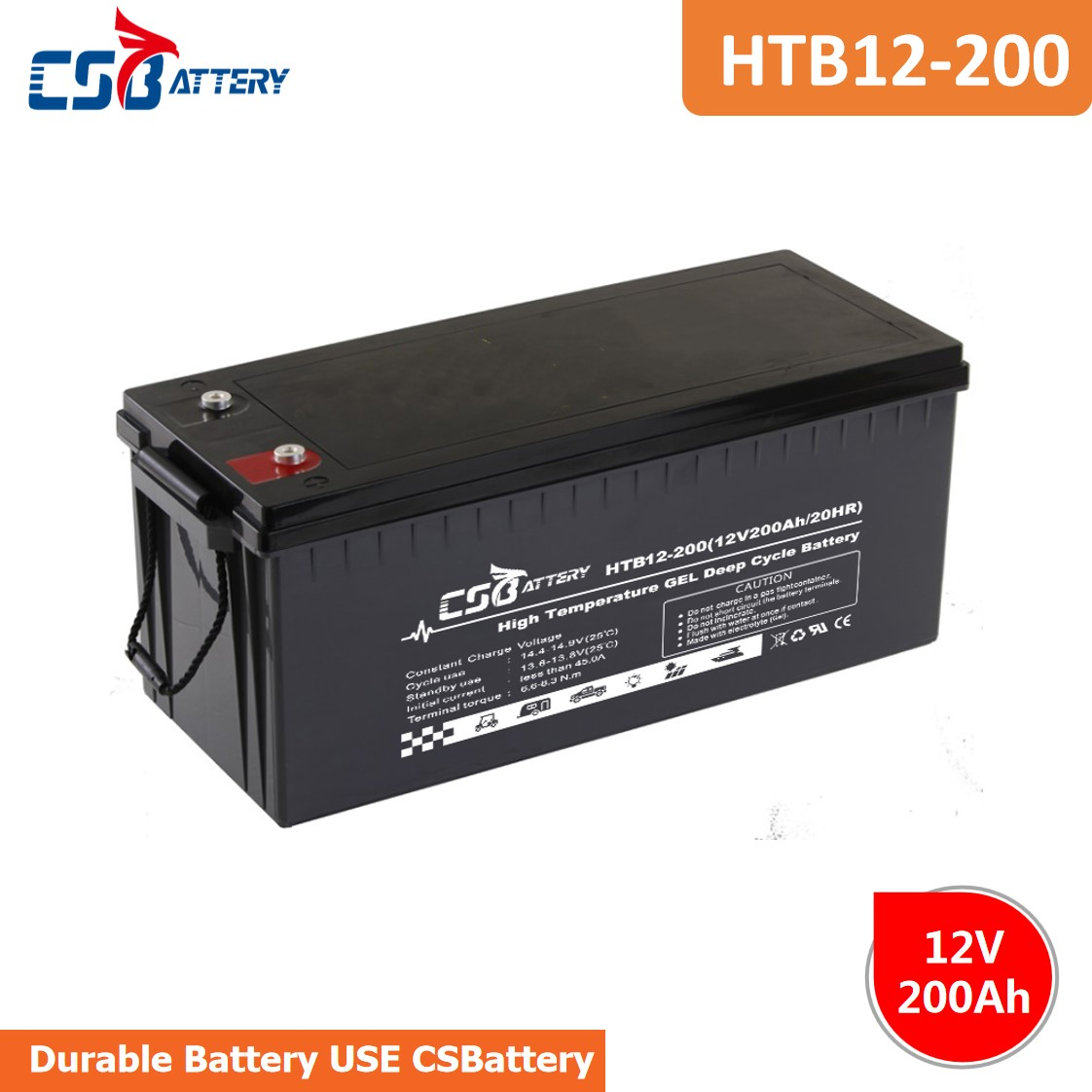 CSBattery 12V200AH Long life GEL Battery for marine/Automotive/motorcycle/bicycle/UPS/computer-backup-power