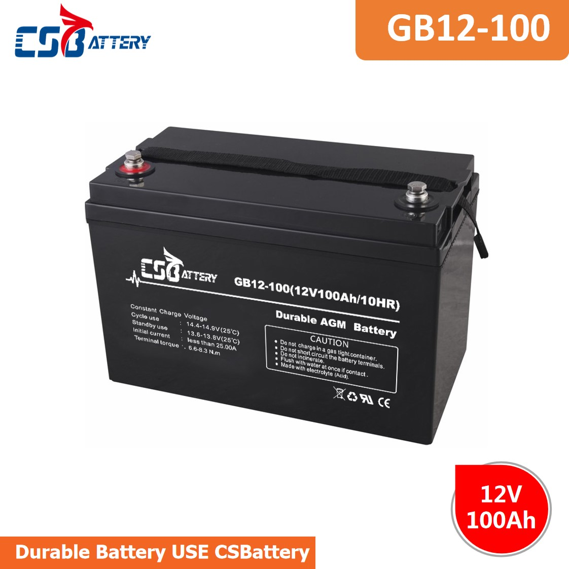 CSBattery 12V 100Ah power-storage  Lead acid battery for Electric-vehicle/Fireproof-power-supply/backup-power-supply