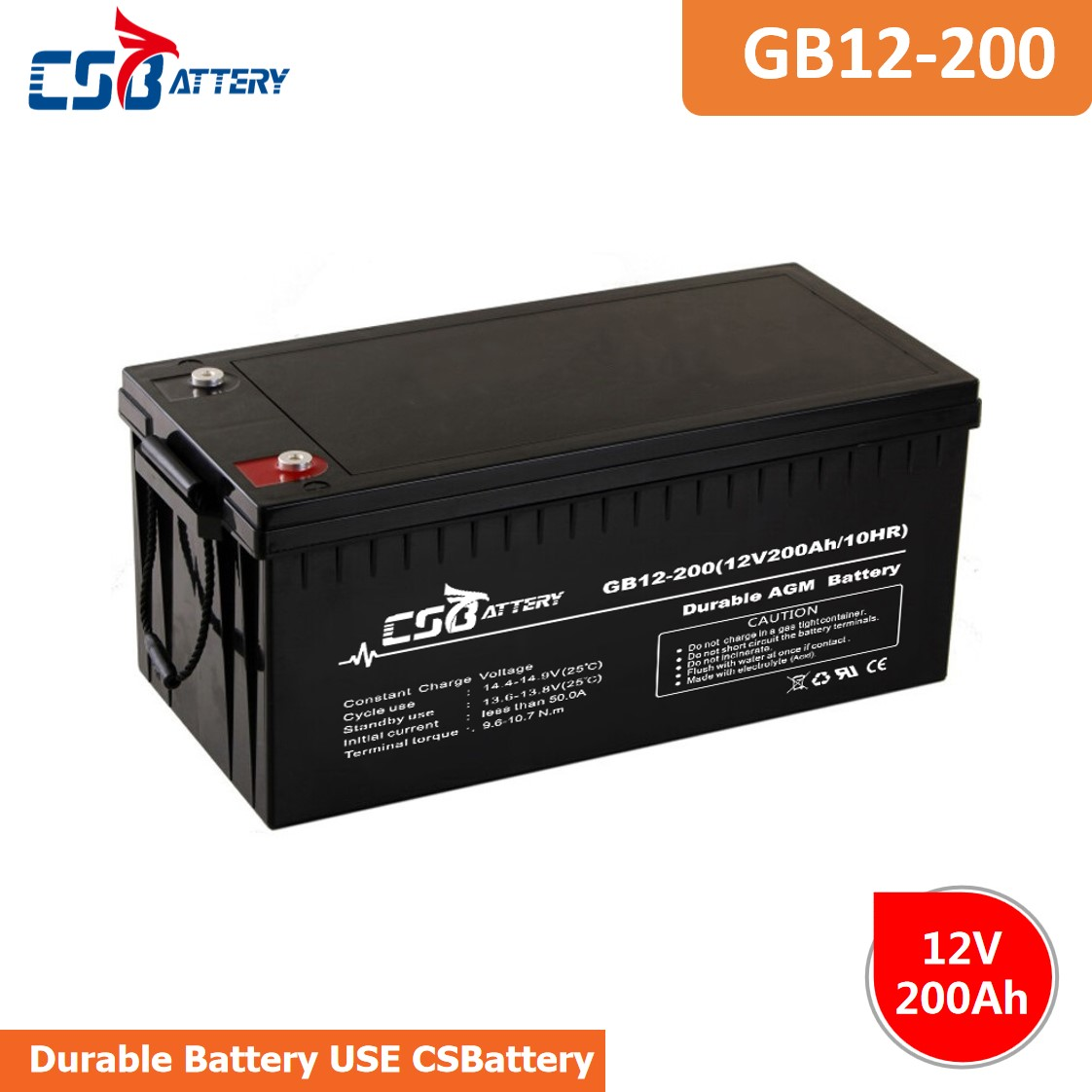 CSBattery 12V 200Ah rechargeable AGM battery for Electric-power/Emergency-systems/Booster-Pumps/forklift