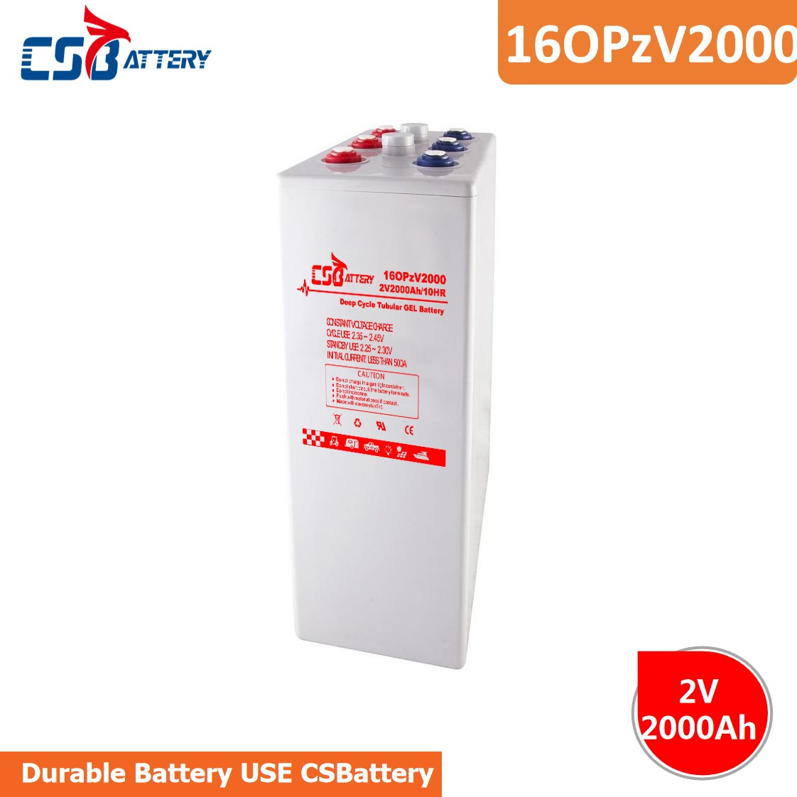 Csbattery 2V2000ah Tubular Gel Battery for Wind-Turbine