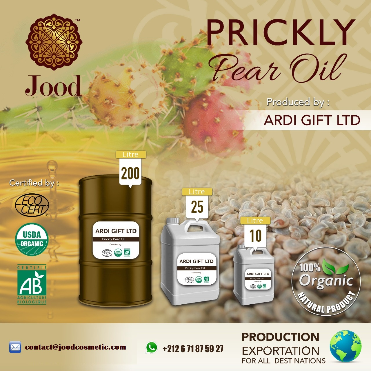 Natural Organic Pure Prickly Seed Oil
