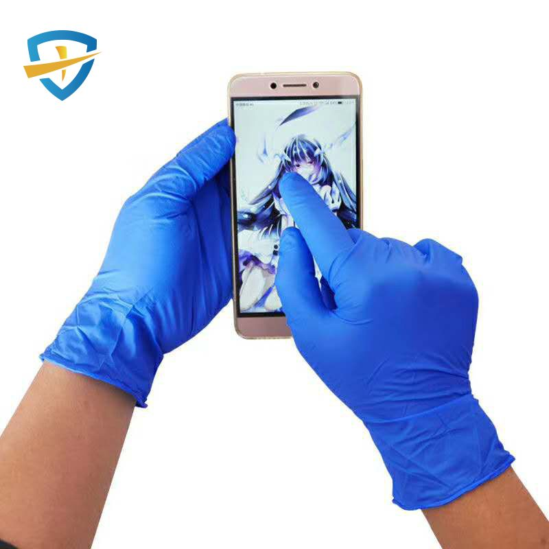 High quality disposable blue nitrile gloves of powder free