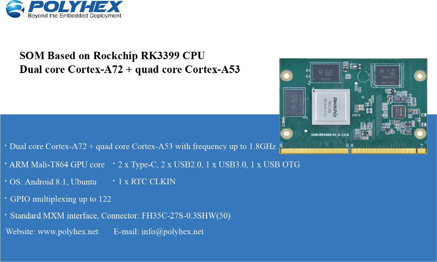 System on Module Based on Rockchip RK3399 CPU