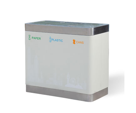 MAX-SN143 Indoor Rectangle Stainless Steel Classification 3 Compartment Recycling Bin For Airport