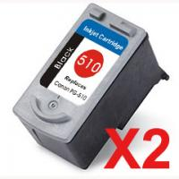 2 x Compatible Canon PG-510 Black Ink Cartridge