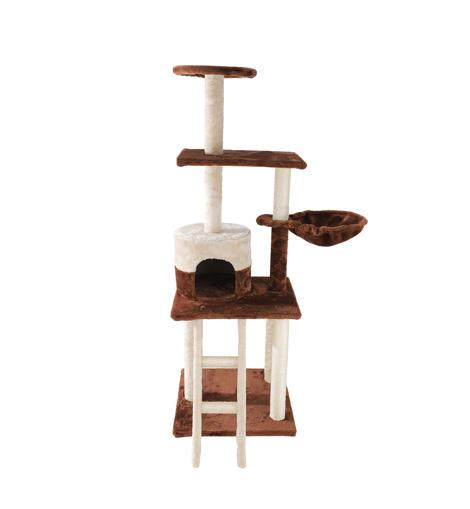 POILS BEBE CAT ACTIVITY TREE TOWER, 54-INCH MULTILEVEL PLAY SCRATCHING POST WITH LADDER PLATFORM HAMMOCK CONDO AND HOUSE FOR SMALL MEDIUM AND LARGE CATS AND KITTENS