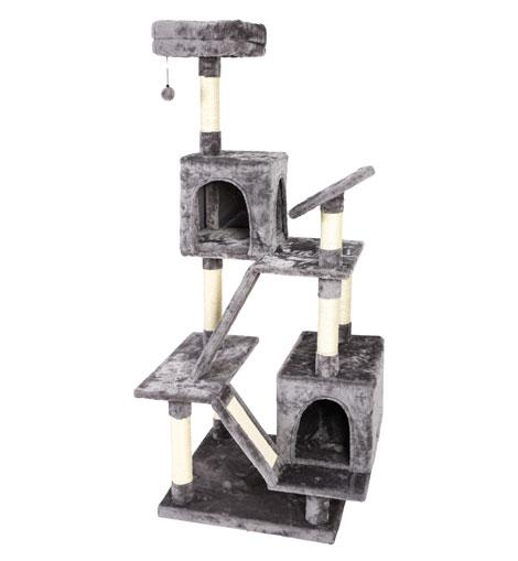 POILS BEBE CAT ACTIVITY TREE TOWER, 61-INCH MULTILEVEL PLAY SCRATCHING POST WITH PLATFORM PLAYGROUND CONDO AND HOUSE FOR MEDIUM AND LARGE CATS AND KITTENS