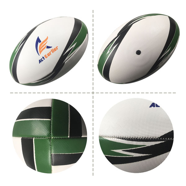 Training Rugby Ball Official Size Weight Rubber Grain Surface Machine Sewn Custom Rugby Ball