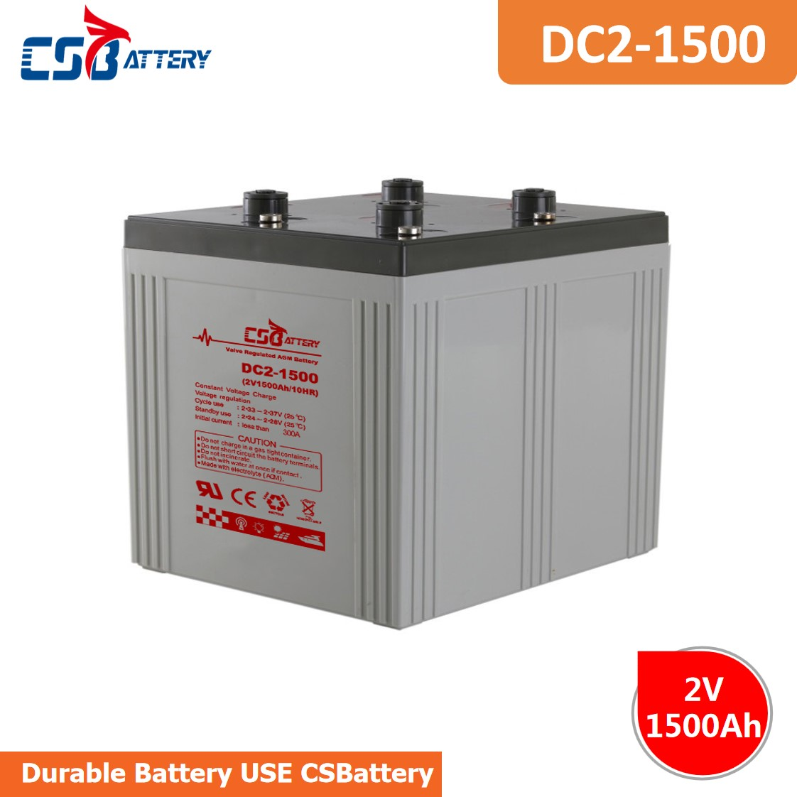 CSBattery 2V 1500Ah Solar-storage Lead acid Battery for water-pump/Electric-Vehicles/submersible-Motors/Electric-Power