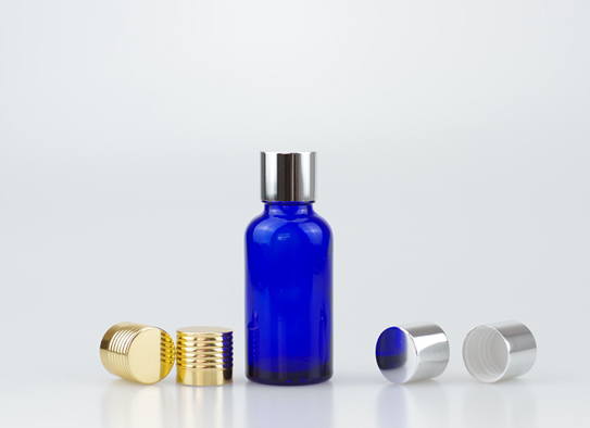 30ml Blue Glass Bottle With 18-415 Glossy Aluminium Cap For Cosmetic Oil