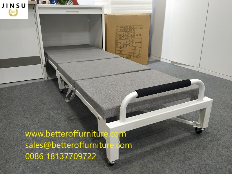 Tambour door Office workstation use Folding bed steel tube frame with Cushion Sponge Roll away wheels
