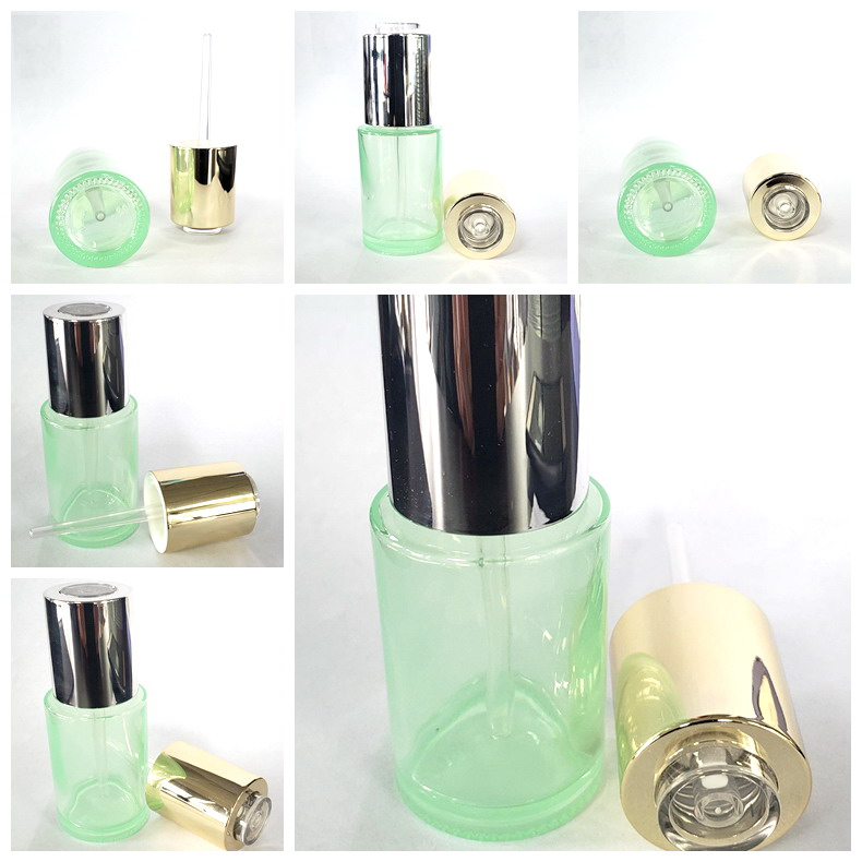 mint color glass bottle with silver or gold pop up press dropper pipette for serum essence lotion milk  can custom private label