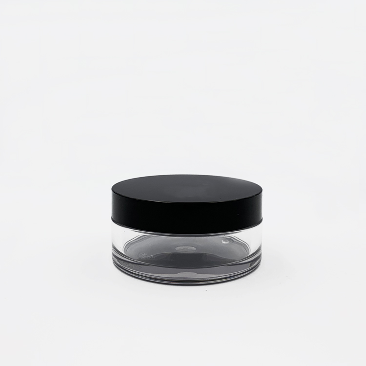 new style plastic cream jar with sifter transparent color clear body and black cap