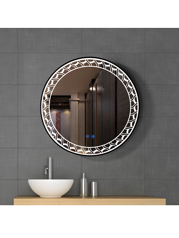 70cmSmart control Round LED bathroom mirror with light