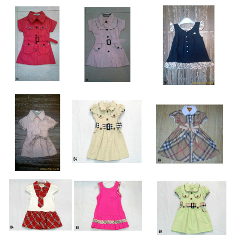 Burberry girls dresses famous brand children's clothing low price and high quality accept pay pal